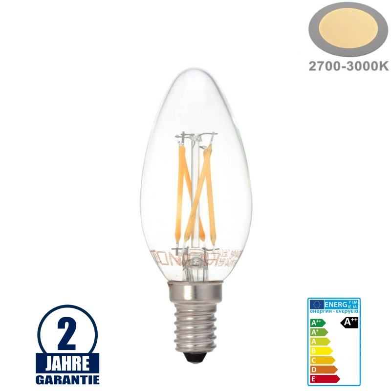 Optonica LED Kerze, 1472 E14 4 Watt Filament 2700 K warmweiß