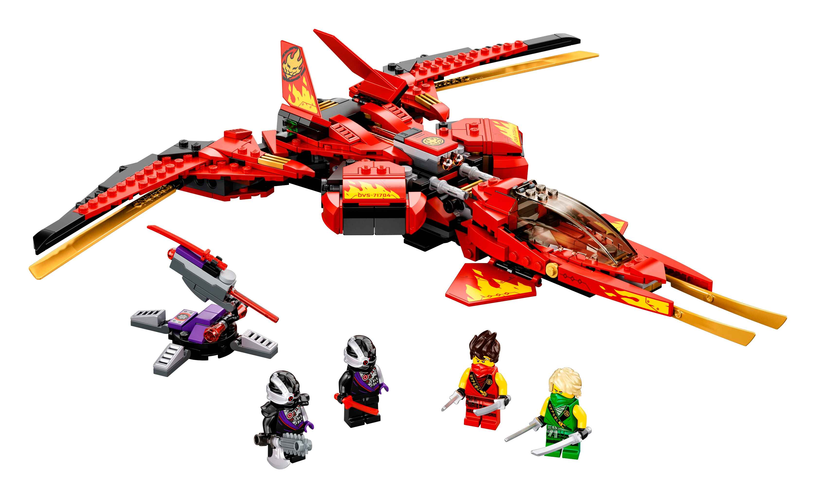 LEGO 71704 NINJAGO Legacy Kais Super-Jet Spielset + Nindroid-Jäger Actionfiguren
