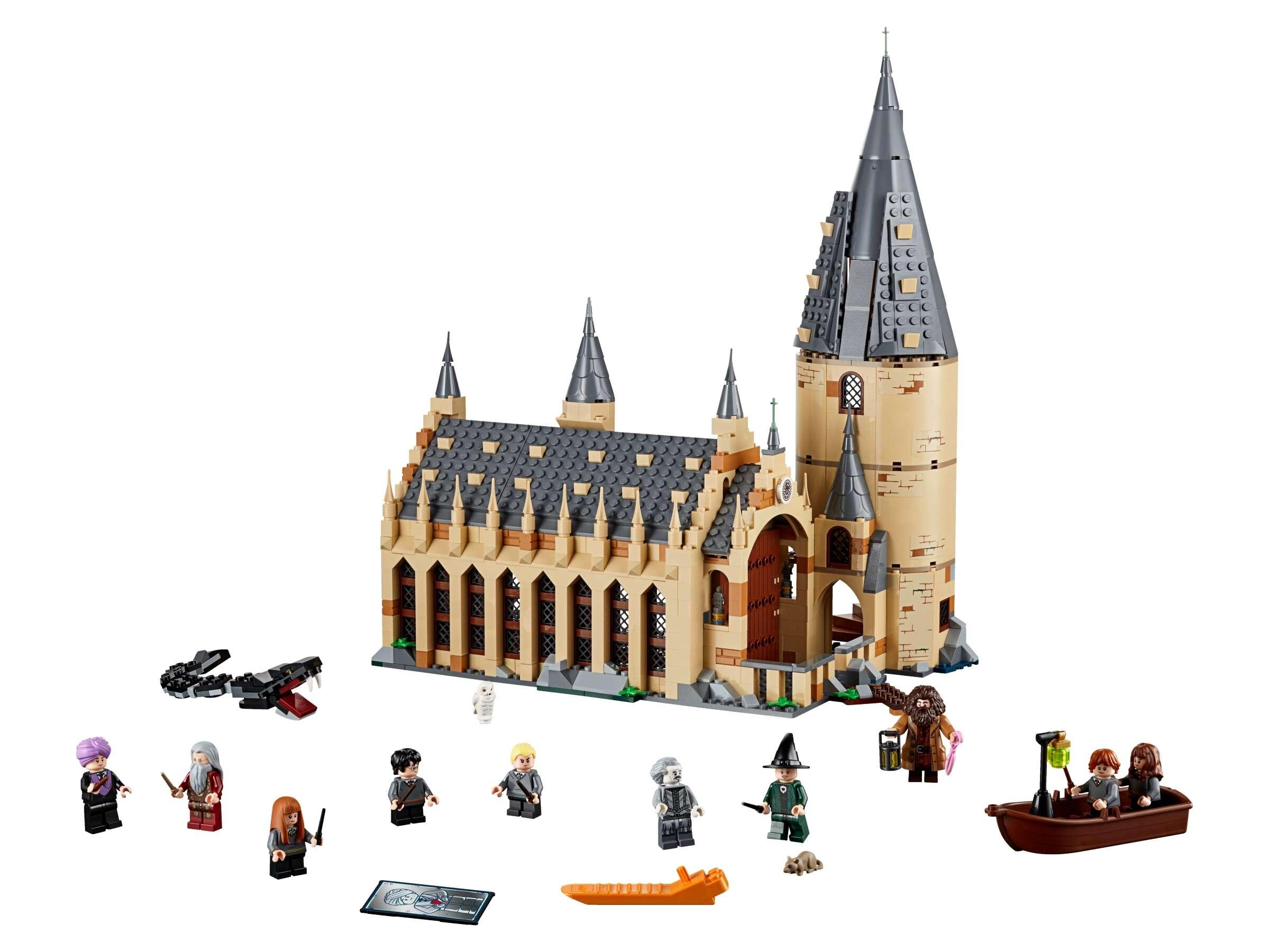 LEGO 75954 Harry Potter Die große Halle von Hogwarts mit 10 Minifiguren und Boot