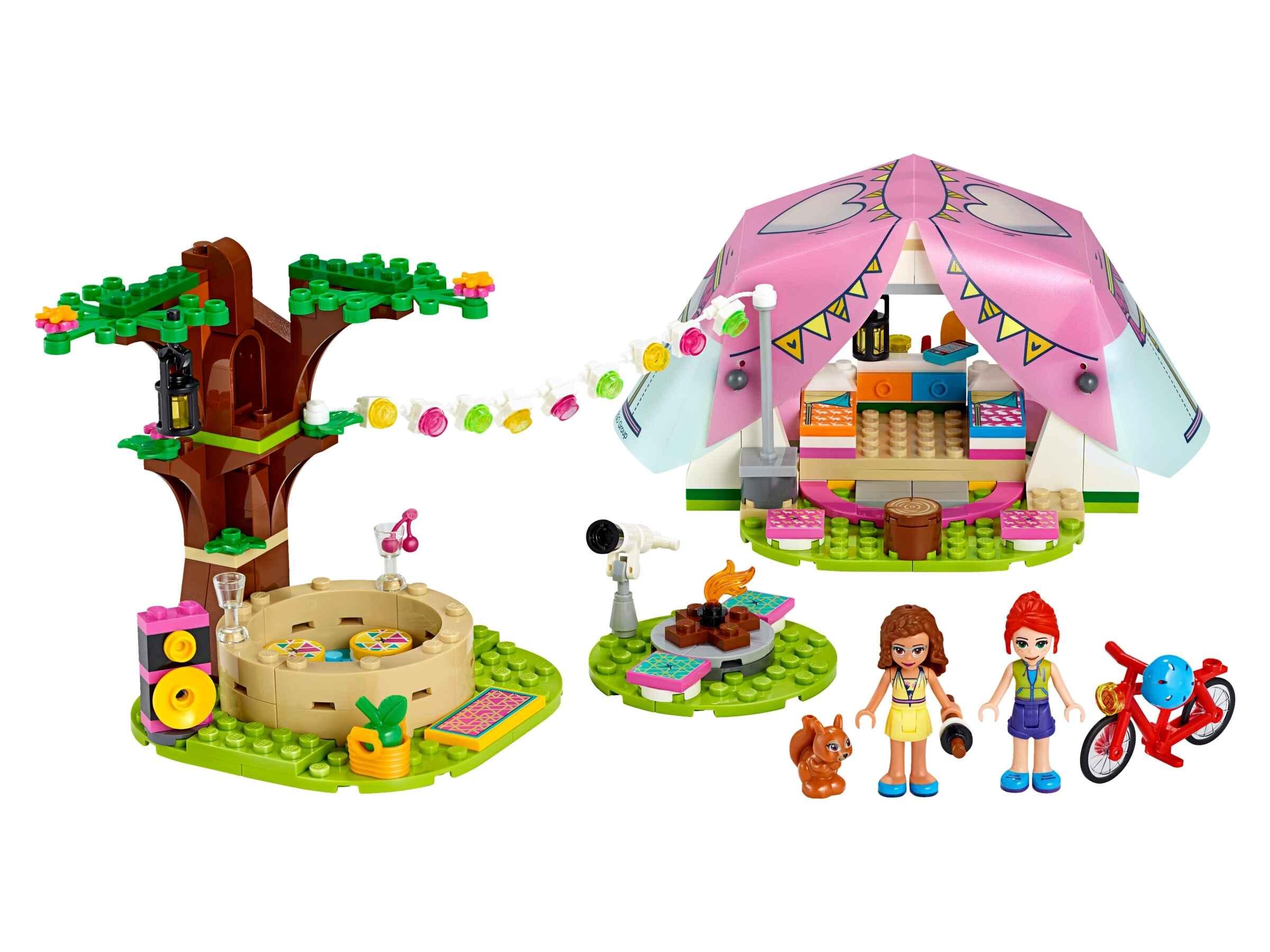 LEGO 41392 Friends Camping in Heartlake City Set, mit Figuren Olivia & Mia, Zelt
