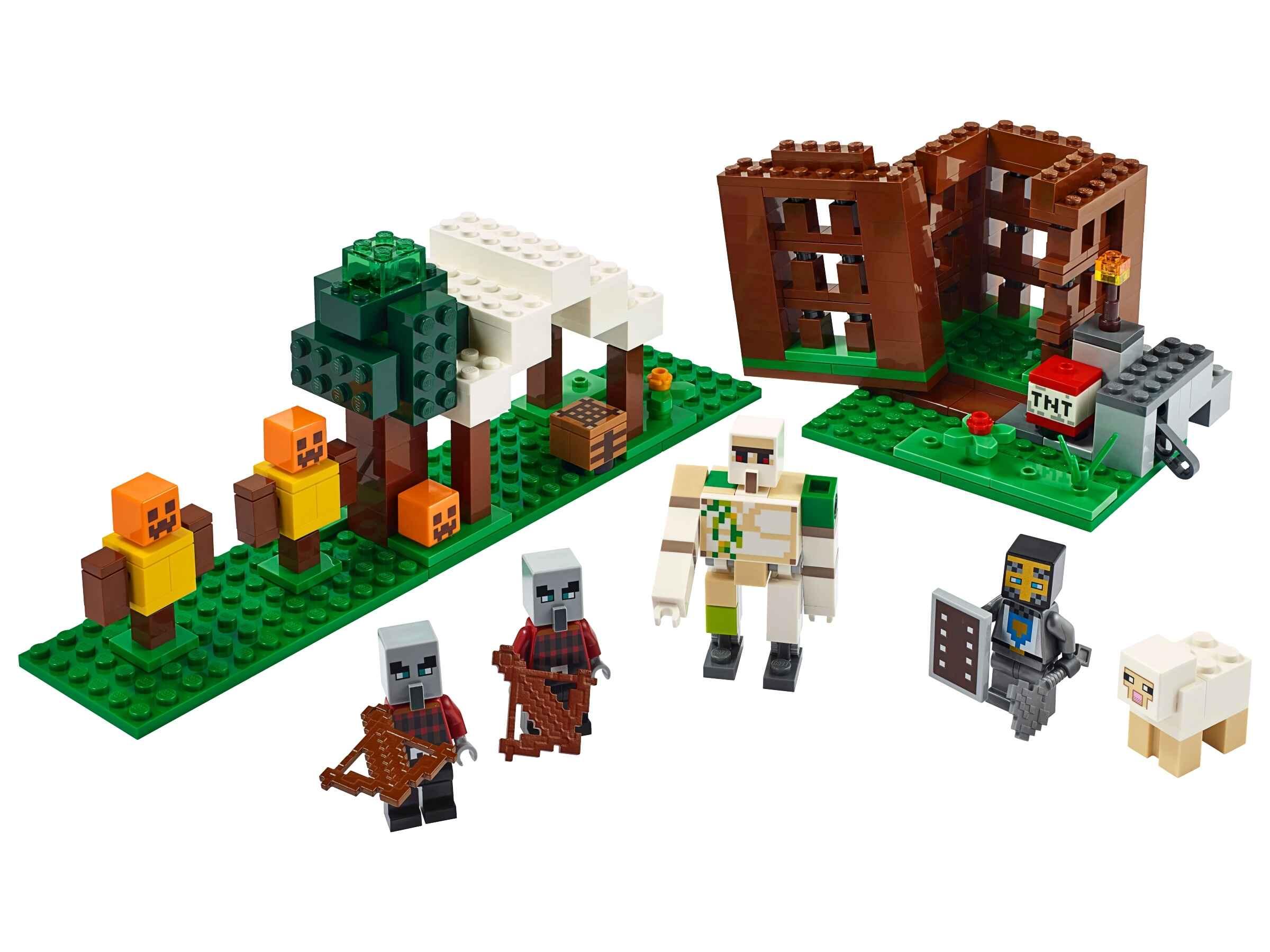 LEGO 21159 Minecraft Der Plünderer-Außenposten, Bauset mit Eisengolem